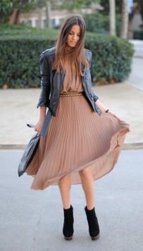 look 1vestido plissado jaqueta de couro moda inverno 2012
