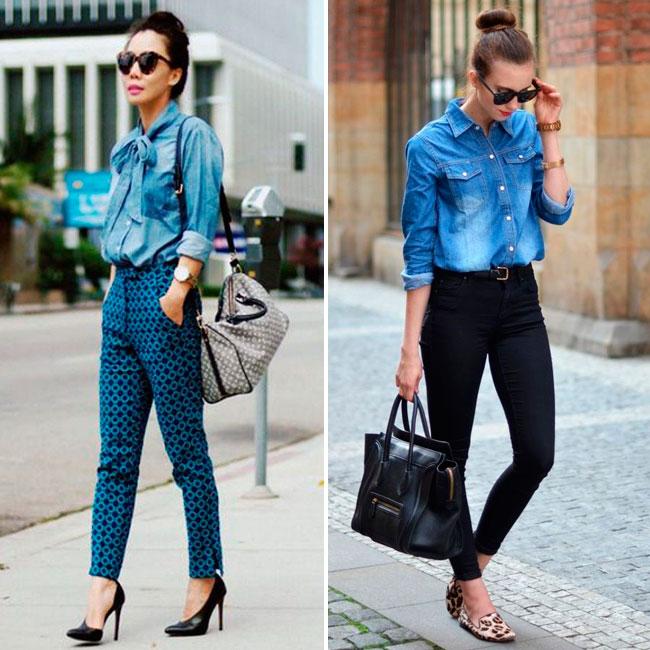 Vestido colado com blusa jeans